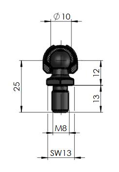 газлифт шаровой шарнир 16-2